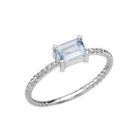 White Gold Solitaire Emerald Cut Aquamarine and Diamond Rope Design Engagement/Promise Ring
