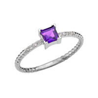 Dainty White Gold Solitaire Princess Cut Amethyst and Diamond Rope Design Engagement/Promise Ring