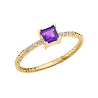 Dainty Yellow Gold Solitaire Princess Cut Amethyst and Diamond Rope Design Engagement/Promise Ring