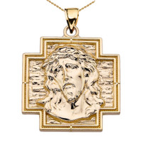 Yellow Gold Jesus Christ Cross Pendant Necklace
