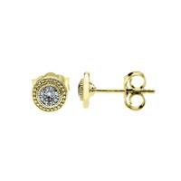 Yellow Gold Cubic Zirconia Stud Earrings