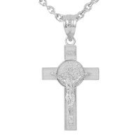 "Sterling Silver St. Benedict Crucifix Pendant Necklace (1.60"")"