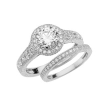 White Gold Art Deco Diamond Wedding Ring Set With 1 ct White Topaz Center Stone