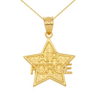 Yellow Gold Air Force Star Pendant Necklace