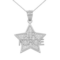 White Gold Air Force Star Pendant Necklace