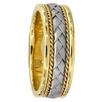 Two-Tone Gold Wedding Band Hand Braided