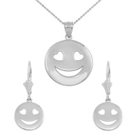 Sterling Silver Heart Eyes Smiley Face Pendant Necklace Earring Set