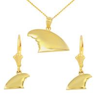 Yellow Gold Shark Fin Pendant Necklace Earring Set