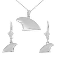 White Gold Shark Fin Pendant Necklace Earring Set