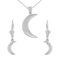 Sterling Silver Crescent Moon Pendant Necklace Earring Set