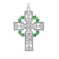 White Gold Fancy Celtic Gemstone and Diamond Cross Pendant Necklace