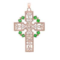 Rose Gold Fancy Celtic Gemstone and Diamond Cross Pendant Necklace
