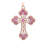 Rose Gold Fancy Cross Pendant Necklace With Gemstone and Diamonds