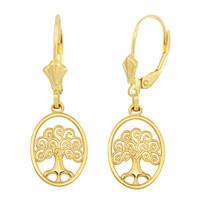 14K Yellow Gold Tree of Life Filigree Swirl Celtic Earring Set