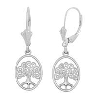 14K White Gold Tree of Life Filigree Swirl Celtic Earring Set