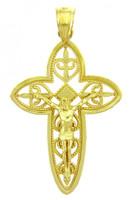 Yellow Gold Crucifix Pendant - The Holy Trinity Crucifix
