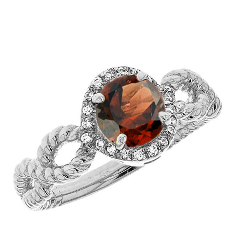 White Gold Infinity Rope Diamond Genuine Garnet Engagement Ring