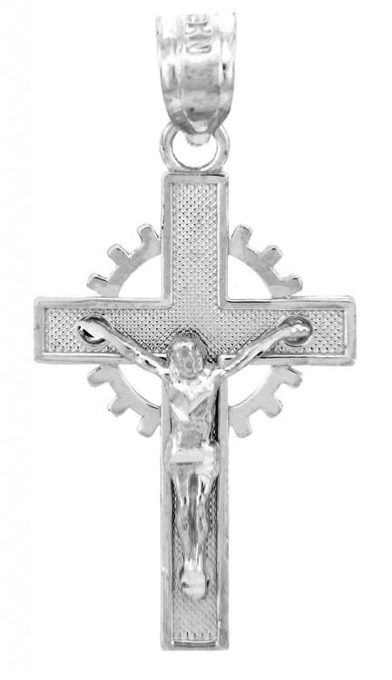 White Gold Crucifix Pendant - The Crown Crucifix