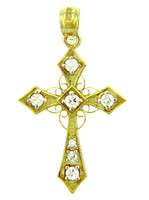 Religious Charms - Yellow Gold Cross with Spirals