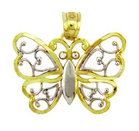 Two-Tone Gold Aponi Butterfly Charm Pendant