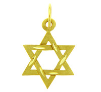 Jewish Charms and Pendants - 14K Yellow Gold Diamond Cut Star of David Pendant