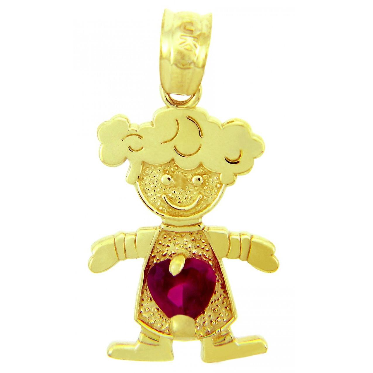 January Birthstone CZ Girl Charm in 14k Gold