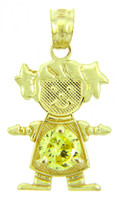 Baby Girl CZ Yellow Topaz Gold Birthstone Charm