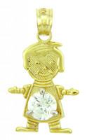 CZ Crystal Stone Yellow Gold Birthstone Charm