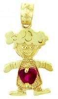 CZ Ruby Garnet Little Girl Yellow Gold Birthstone Charm