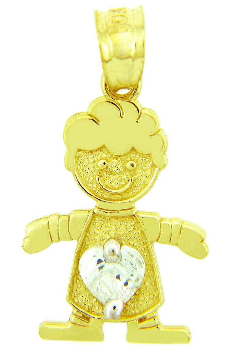 White Gold April Birthstone Crystal Clear Round CZ Baby Boy Charm Pendant
