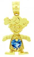 CZ Aquamarine March Girl Birthstone Charm