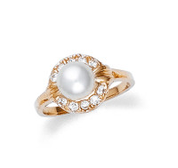 Pearl Ring with Round Cubic Zirconia
