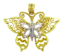Two-Tone Gold Motyl Butterfly Charm Pendant