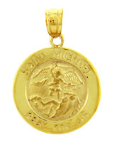 Gold Religious Pendants - The Saint Michael Pray For Us Yellow Gold Pendant