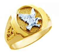 Men's Gold Rings - The White Eagle Two Tone Gold Ring