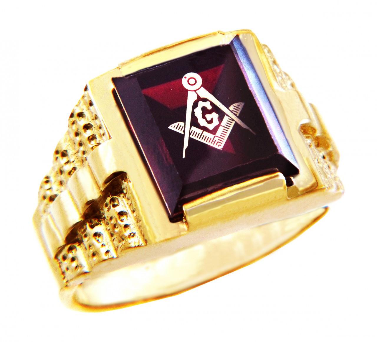 Mens Polished 10k Rose Gold Round Top Freemason Square and Compass Masonic Ring