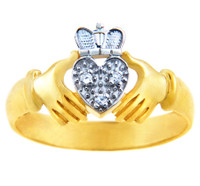 Gold Claddagh Rings - The Two Tone Gold Claddagh Ring with Diamonds