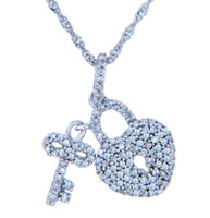 Valentines Special Heart Diamonds - White Gold Heart Lock and Key Pendant with Diamonds (w Chain)