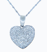 Valentines Special Heart Diamonds - White Gold Heart Pendant with Diamonds Encrusted (w Chain)