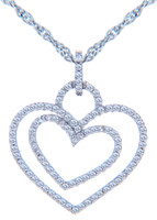 Valentines Special Heart Diamonds - White Gold Double Heart Pendant with Diamonds (w Chain)