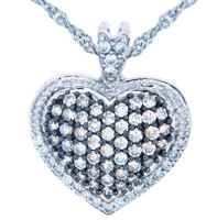 Valentines Special Heart Diamonds - 10K White Gold Fancy Heart Pendant with Diamonds (w Chain)