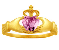 Gold pink sapphire CZ Claddagh ring.