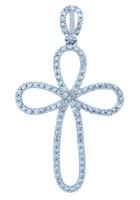 Gold Loop Cross Pendant with Diamonds
