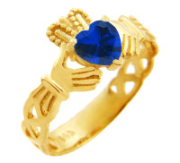 Claddagh Trinity Band Ring in Gold with Sapphire Birthstone.  Available in 14k and 10k Gold.