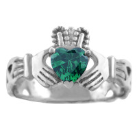 Silver Claddagh Trinity Band Ring with Emerald Green CZ Heart.