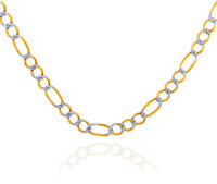 Gold Chains: Figaro Pave Two-Tone 10K Gold Chain 2.2 mm
