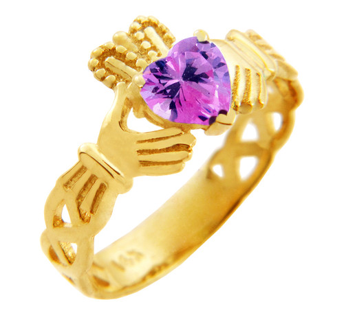 Claddagh Trinity Band Ring in Gold with Pink CZ Heart Birthstone.  Available in 14k and 10k gold.
