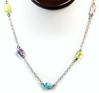 Gemstone Necklaces - Seduction Simulated Mixed Colored Quartz Long Necklace in Sterling Silver 40 Inch
