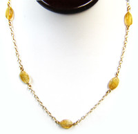 Gemstone Necklaces - Aurous Citrine Quartz Long Necklace in Sterling Silver 44 Inch