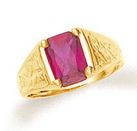 Gold Baby Boy Ring with Ruby CZ